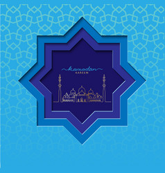 Ramadzan blue square card with grand mosque vector