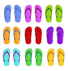 realistic color slippers isolated 3d bright vector image