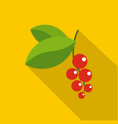 red currants branch with green leaves icon vector image