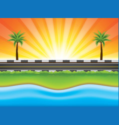 road near the sea with palm trees vector image