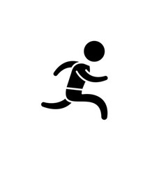 run black icon sign on isolated background vector image