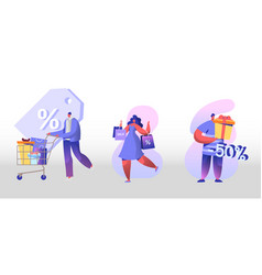 Sale and discount set happy people shopping vector