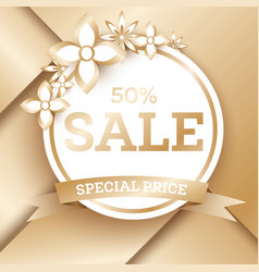 Sale golden banner template with flowers and copy vector
