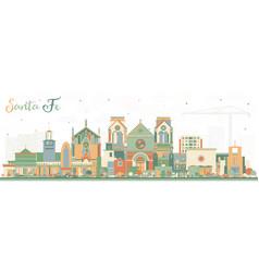 Santa fe new mexico city skyline with color vector