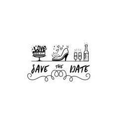 save the date calligraphy lettering for vector image