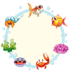 Sea creature frame template vector