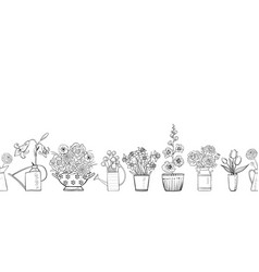 seamless pattern with garden flowers bouquets vector image