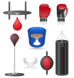Set icons of equipment for boxing vector