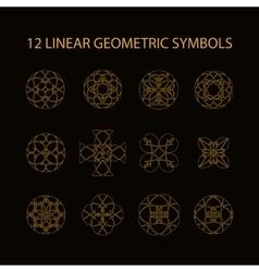 set of 12 linear geometric symbols vector image