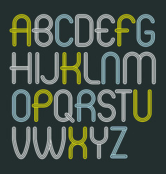 Set of disco upper case english alphabet letters vector
