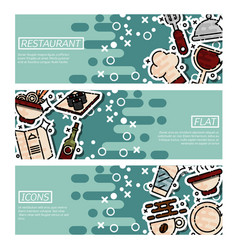 set of horizontal banners about restaurant vector image