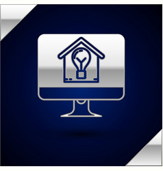 Silver computer monitor with smart house and light vector