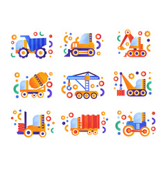 special transport set heavy industrial and vector image