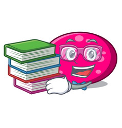 Student with book ellipse mascot cartoon style vector