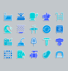 swim pool equipment patch sticker icons set vector image