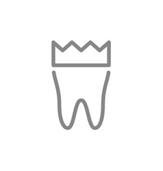 tooth with crown line icon dental crown vector image