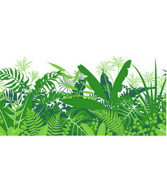 Tropical plants green seamless pattern vector
