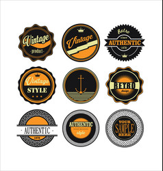 Vintage labels black and yellow set 1 vector