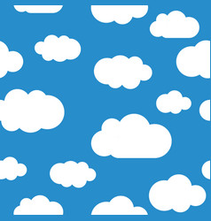 white clouds seamless pattern light blue sky vector image