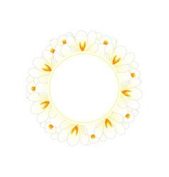 white crocus flower banner wreath vector image