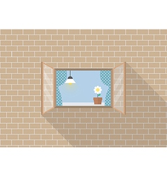 Window frame on brick background vector