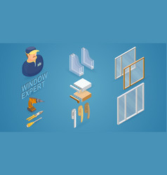 Window installation service isometric concept vector