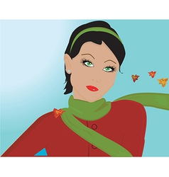 Woman in autumn vector