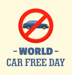 World car free day background flat style vector
