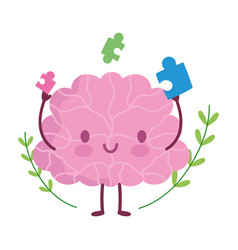 world mental health day cartoon brain puzzles vector image