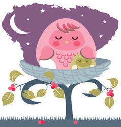 asleep-baby-owl-with-mom vector image