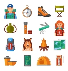 Hiking Flat Color Icons Set vector image