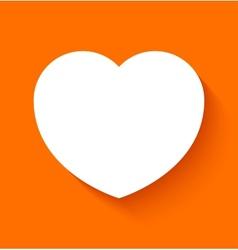 Paper heart on orange background vector image