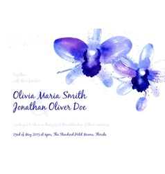 Background with blue watercolor orchids vector image