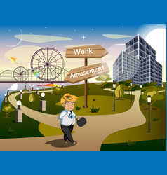 businessman standing at the crossroads vector image