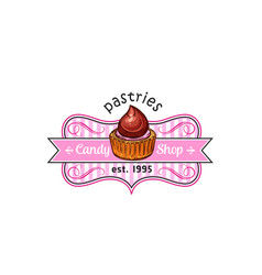 cake cupcake dessert label for pastry shop design vector image