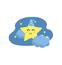 cute star with cloud in the sky design vector image vector image