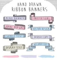 Hand drawn banner and ribbon design set vector image vector image