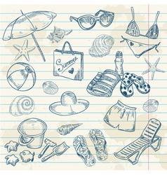 Hand drawn retro icons summer beach set vector
