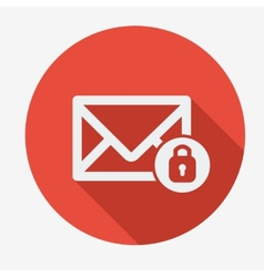 Mail icon envelope with padlock Flat design vector image
