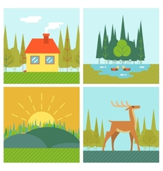 Nature landscapes outdoor life symbol lake forest vector