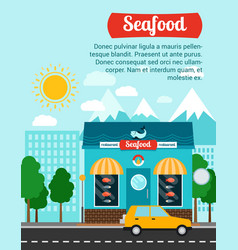 seafood advertising banner with shop building vector image