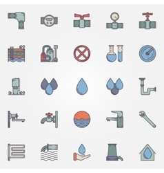 Water supply flat icons vector image vector image