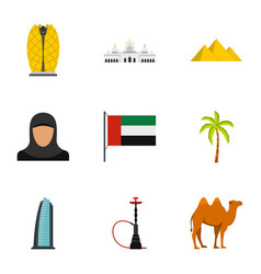 welcome to emirates icons set flat style vector image