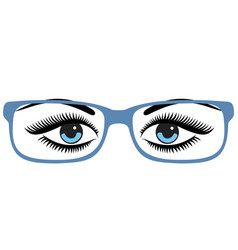 beautiful womens blue eyes with glasses vector image vector image