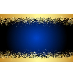 blue frame with gold snowflakes vector image vector image