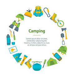 cartoon traveling camping and hiking banner card vector image vector image