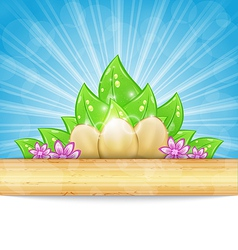 Easter background with eggs leaves flowers vector image