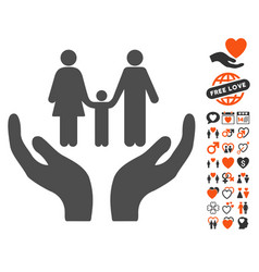 family care hands icon with valentine bonus vector image
