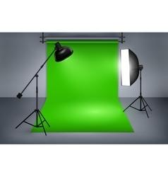 Film studio with green screen vector image vector image