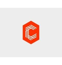 Letter C logo icon design Creative line vector image